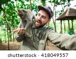 bearded tourist and blogger... | Shutterstock . vector #418049557