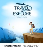 travel and explore around the...   Shutterstock .eps vector #418069447