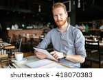 businessman working while... | Shutterstock . vector #418070383