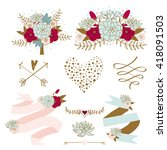 wedding graphic set with... | Shutterstock .eps vector #418091503