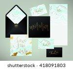 wedding marble textured... | Shutterstock .eps vector #418091803