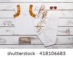 woman's clothes with accessory. ... | Shutterstock . vector #418106683