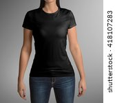 female wearing black t shirt... | Shutterstock . vector #418107283