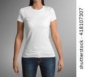 female wearing white t shirt... | Shutterstock . vector #418107307