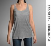 female wearing grey tank top... | Shutterstock . vector #418107313