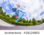 young boy with scooter is going ... | Shutterstock . vector #418124803