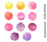set of hand drawn watercolor... | Shutterstock . vector #418139503