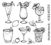 sketch cocktails and alcohol... | Shutterstock .eps vector #418140253