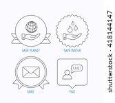 mail  save water and faq speech ... | Shutterstock .eps vector #418144147