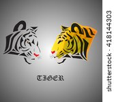 white tiger with yellow tiger   ... | Shutterstock .eps vector #418144303