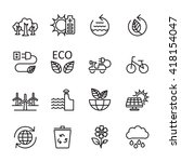 thin line ecology icon set 7 ... | Shutterstock .eps vector #418154047