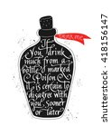 quote 'drink me' hand drawn... | Shutterstock .eps vector #418156147