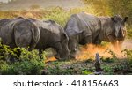 endangered wild rhinos fighting ... | Shutterstock . vector #418156663