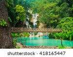 kuang si waterfall in luang... | Shutterstock . vector #418165447