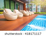 relaxing rattan chairs with... | Shutterstock . vector #418171117