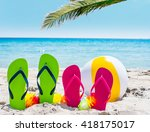 flip flops and palm tree by the ... | Shutterstock . vector #418175017