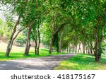 small road and tree in golf... | Shutterstock . vector #418175167