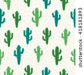 Seamless Pattern With Cactus O...
