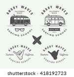 set of vintage surfing logos ...   Shutterstock .eps vector #418192723
