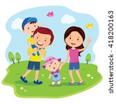happy family day. cheerful... | Shutterstock .eps vector #418200163