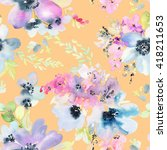 seamless pattern with flowers... | Shutterstock . vector #418211653