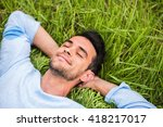 beautiful young man with closed ... | Shutterstock . vector #418217017