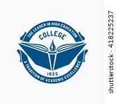 logo college. academy ... | Shutterstock .eps vector #418225237