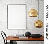 mock up poster frame in hipster ... | Shutterstock . vector #418233127