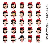 french girl character vector set | Shutterstock .eps vector #418234573