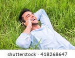 beautiful portrait of a happy... | Shutterstock . vector #418268647