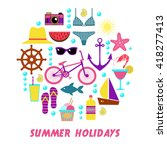 colorful summer icons designed... | Shutterstock .eps vector #418277413