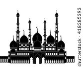 detailed silhouette of mosque ... | Shutterstock .eps vector #418285393