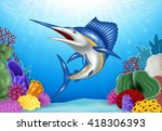 cartoon blue marlin with coral... | Shutterstock .eps vector #418306393