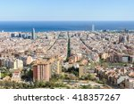 the skyline of barcelona from... | Shutterstock . vector #418357267