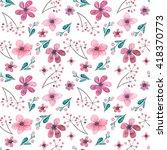 watercolor deep pink flowers... | Shutterstock . vector #418370773