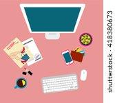 girl workplace. vector... | Shutterstock .eps vector #418380673
