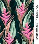 seamless tropical flower  plant ... | Shutterstock . vector #418380727