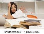 portrait of tired asian student ... | Shutterstock . vector #418388203