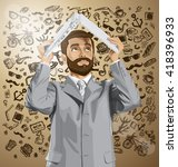 vector business man with beard... | Shutterstock .eps vector #418396933