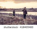 hunters choosing a good...   Shutterstock . vector #418405483
