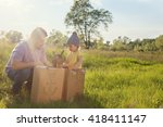 father and toddler playing with ...   Shutterstock . vector #418411147