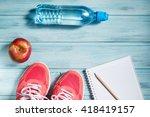 fitness concept  pink sneakers  ... | Shutterstock . vector #418419157