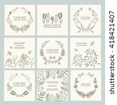 vector set  floral wreath and... | Shutterstock .eps vector #418421407