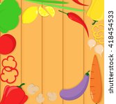vegetarian recipes banner with... | Shutterstock .eps vector #418454533