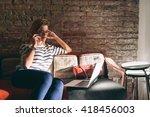 young attractive blonde girl... | Shutterstock . vector #418456003