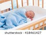 newborn baby in hospital room.... | Shutterstock . vector #418461427
