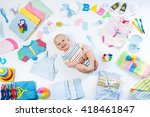 baby on white background with...   Shutterstock . vector #418461847