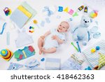 baby on white background with... | Shutterstock . vector #418462363