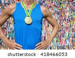 gold medal athlete stands in...   Shutterstock . vector #418466053