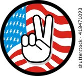 peace sign hand gesture over... | Shutterstock .eps vector #418471093